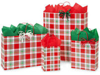 CHRISTMAS PLAID Design Print Party Gift Bag Only Choose Size & Package Amount