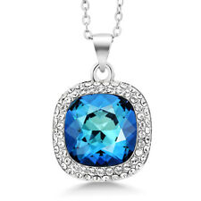 """Multi-color Rhodium Plated Pendant With 18"""" Chain Made With Swarovski Crystal"""