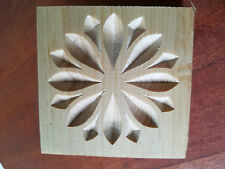 "*SET of 4*  Zen Flower- carved rosette block  3.5"" X 3.5 x 3/4""  Pine"