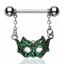 PAIR (2) Green Masquerade Mask Dangle Nipple Ring Surgical Steel Barbell 14g