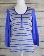 Nautica Sleepwear Sleep Shirt Tee Top Pajama PJ Henley 3/4Sleeve Blue Gray Small