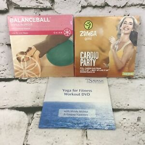 Workout Fitness CD/DVDs Lot Of 3 BalanceBall Zumba Gold Cardio Party Yoga