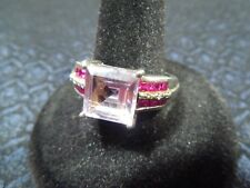 Sterling Silver Amethyst, Ruby and Diamond Accent Statement Ring Size 10