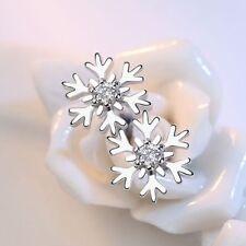 Earrings Ear Stud Austrian Crystal White Gold Plated Wedding Jewelry Snowflake