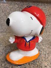 "Peanuts Snoopy Ceramic Bank 9"" Tall Skateboard baseball hat"