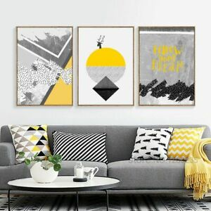 Posters Prints Wall Pictures For Living Room Abstract Yellow Geometric Paintings