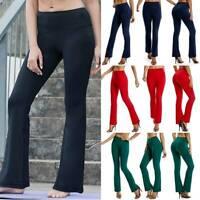 Womens Wide Leg Boot Flared Leggings Yoga Pants Cotton Stretch Full Length S-XL