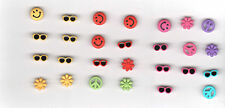 Jesse James Dress-Buttons-Tiny Retro-Sunglasses/Peace Sign/Flower-18 Pieces