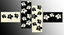 BLACK CREAM FLORAL CANVAS WALL ART PICTURES SPLIT MULTI 4 PANEL 146 CM  WIDE