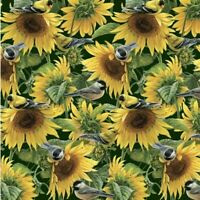 1 Yard of Sunflowers and Birds Fabric 100% Cotton