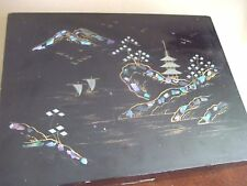 vtg MOTHER of PEARL inlay WOOD Japan Some Enchanted Evening MUSIC BOX