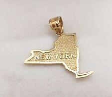 Men's Women's 10k Yellow Gold New York State Map Charm New York State Pendant