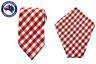 Men's Red White Grey Gingham 8.5CM Necktie & Pocket Square Set Wedding Tie Combo