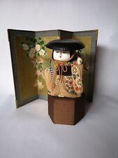 "Antique Japanese Doll 5"" Kimekomi Wood Head Gofun Finish Gosho Free Ship"