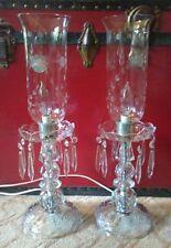 Vintage Hollywood Regency Crystal Hurricane Table Lamps Etched Glass Prisms