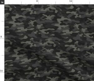 Camo Black Gray Camouflage Athletic Spoonflower Fabric by the Yard