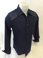 Mens TRUE ROCK Designer Shirt NAVY Woven WESTERN LONG Sleeve Shirt VEGAS 3851