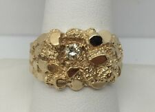 10K GOLD SOLITAIRE DIAMOND MENS NUGGET RING 1/5CT VS2, I SIZE 9.75