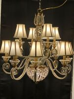 French Crystal Beaded Chandelier Gilt Metal Tole Maison Bagues Style 13 Light