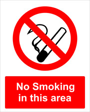 No Smoking In This Area Aluminium Prohibition Sign