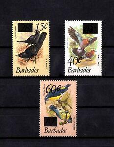 BARBADOS - 1981 - BIRDS - BLACKBIRD - DOVES + SURCHARGE - 3 X MINT - MNH SET!