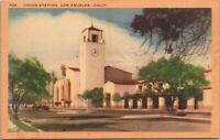 Vintage Linen Postcard Union Station Exterior Los Angeles CA California - Unused