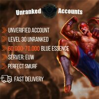 League of Legends Account EUW 60-70k BE Lol Smurf Lvl 30+ UNVERIFIED Unranked