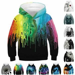 Boys Girls 3D Printed Hooded Sweatshirt Hoodies Pullover Jumper Casual Coat Tops