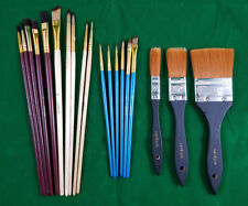 19 tlg. Pinsel-Set Künstler Acryl Öl rund flach malen Malerei