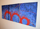 acrylic painting canvas triptych modern art artist abstract wall blue black