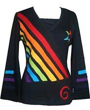 R 260 Rainbow Diagonal Patched Star Boho Gypsy Blouse
