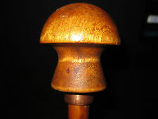 MW.344M: ANTIQUE MUSHROOM WOOD TOP ON WOOD WALKING STICK CANE