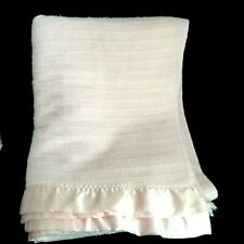 "Vintage Light Pink Waffle Weave Acrylic Blanket Satin Trim Binding  Twin 64x87"""
