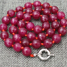 """8mm Natural Faceted Brazil Red Ruby Gemstone Round Beads Necklace 18"""" AAA"""