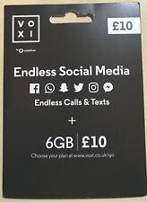 Voxi SIM Card Endless Social Media 6gb for 4g Nano Micro PAYG Vodafone