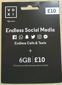 VOXI sim with 6GB Data & Endless Social Media for £10 per month