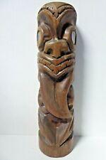 Vintage Rotorua Tiki Statue Auckland New Zealand Maori Paua Shell Eyes