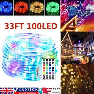 10M 100 LED Rope Strip Tube String Fairy Lights Strip Waterproof Garden Outdoor