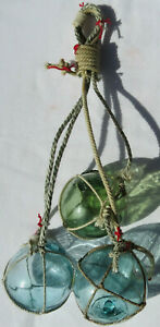 "Japanese Wood Fishing Float (3) Glass 2"" Netted Hanging in Aqua & Sea Green"