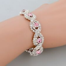 18K WHITE GOLD PLATED GENUINE CLEAR & PINK CUBIC ZIRCONIA TENNIS BRACELET