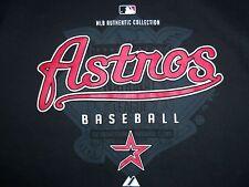Mlb Majestic Houston Astros Baseball Team Black Graphic Print T Shirt L