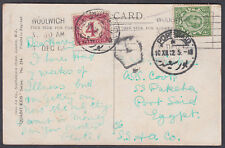 1913 Postage Due Postcard Woolwich to Egypt
