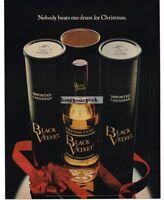 1970 BLACK VELVET Whiskey Red Christmas Bow Vtg Print Ad