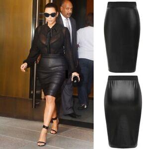 New Women Wet Look High Waist Leather Stretchy Bodycon Pencil Skirt Midi  WTmdL