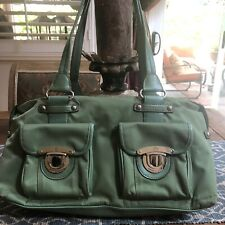 Kathy Van Zeeland Green Satchel Shoulder Bag Purse W Buckle Front Pockets