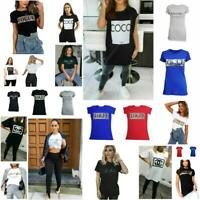 Ladies Womens Leopard Print VOGUE Slogan Short Sleeve T-Shirt Basic Summer Tops