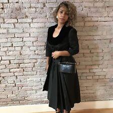 Vintage 40s Black Taffeta Prom Cocktail Dress Long Sleeve Velvet Collar Tiered S