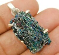 Natural Titanium Druzy 925 Solid Sterling Silver Pendant Jewelry, ED33-6
