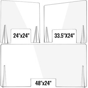 "VEVOR Sneeze Guard Acrylic Plexiglass 24/33.5/48"" x 24"" Checkout Counter Shield"