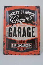 LARGE Tin Metal Embossed Sign HARLEY DAVIDSON GARAGE 30X40CM Licensed ORANGE